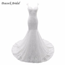 Peacock Elegant Backless Lace Bridal Dress Sexy Spaghetti Straps Lace Mermaid Wedding Dresses
