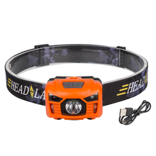 1*XPE+2*LED Multi-function headlight Lightweight two switch modes Induction Headlamp Adjustable light + USB cable for camping(China)