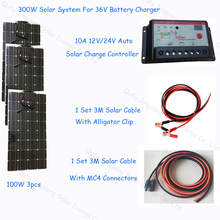 Newly Complete 300W Solar Battery Charger 24V; semi flexible solar panel 100w 3pcs; 1*10A solar controller; 1 set solar cable 3M