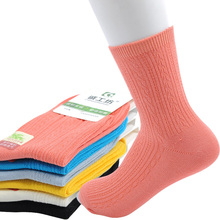 New 2017 Fashion Socks Bamboo Woman Vertical Stripes Women Winter Socks Casual In Tube Thicken Female Socks 10pcs=5pairs/lot