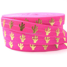 "Good Quality Cactus Print Fold Over Elastic 10 Yards 5/8"" Cacti Neon Pink FOE Elastic Ribbon for DIY Head wear Headband Hair Tie"