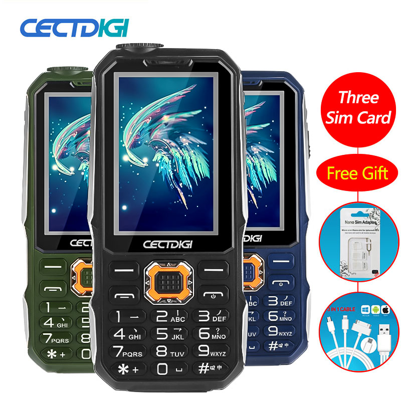 3 Sim Card Phone Cectdigi T19 3D Stereo Speaker outdoor Rugged Mobile Phone Power Bank Wireless FM 16:9 HD Russian Keypad phone(China)