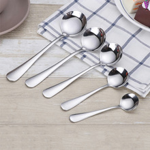 1pcs Stainless Steel Round Spoon Stir Spoon Coffee Spoon Ice Cream Honey Dessert Tea Spoon five sizes optional
