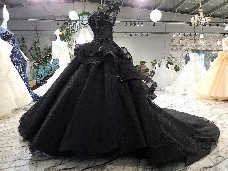 organza black wedding dress