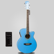 free shipping Lyles novice 40 inch folk electric box acoustic guitar Sky blue electric guitar+eq  length of 102 cm