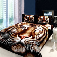 Tiger Bedding Sets,Animal Print Comforter Set,3D Oil Painting Duvet Cover Set,4Pcs,Queen
