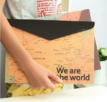 Hot sale sweet design good quality wholesale   Map   A4 file holderdocuments file bag .cute lovey school stationery