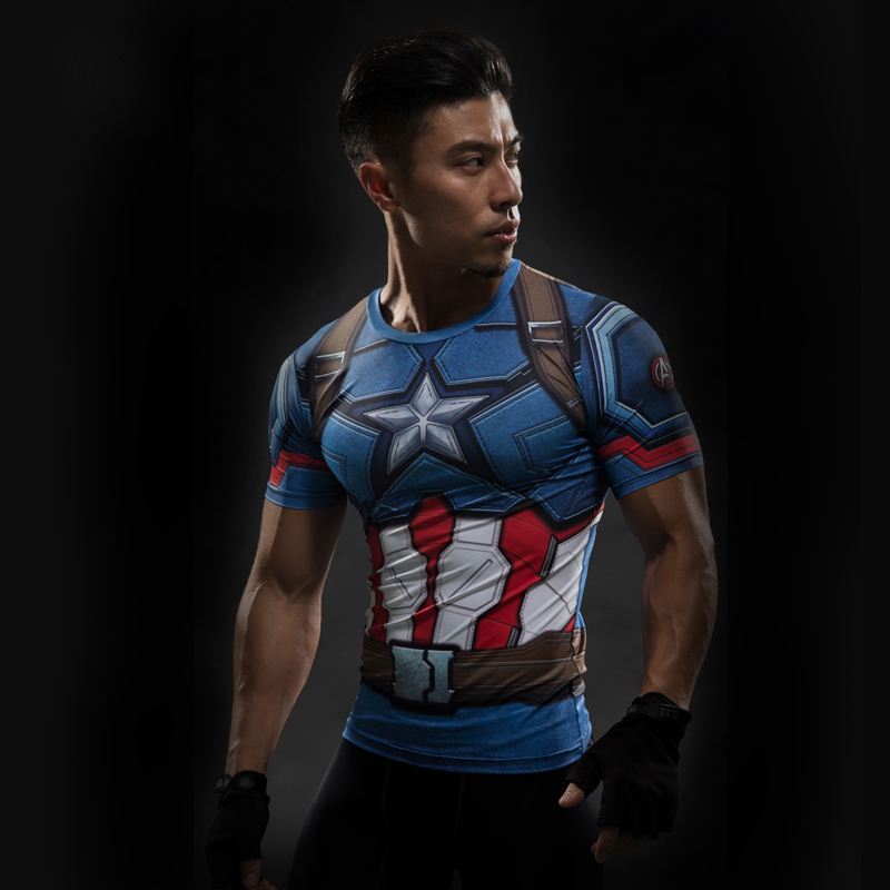 Short Sleeve 3D T Shirt Men T-Shirt Male Crossfit Tee Captain America Superman tshirt Men Fitness Compression Shirt Punisher MMA 16
