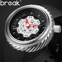 BREAK Brand Luxury Men Quartz Watch Men Creative Fashion Casual Rubber Strap Mens Sport Watches Military Clok Male Relojes Hombr(China)
