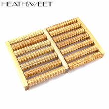 Healthsweet 1pc 7 Rows Wooden Roller Foot Massage Reduce Stress Health Care Tool Wood Wheel Relaxation A196(China)