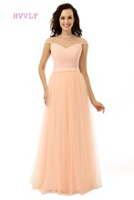 See Through Evening Dresses 2018 A-line High Collar Cap Sleeves Tulle Pearls Peach Women Long Evening Gown Prom Dress Prom Gown(China)
