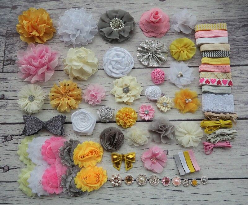 Shower Headband Station Kit,DIY Headband Making Kit,First Birthday Party Headband Kit,Hair Bow Kit ,black,white,pink S50<br>