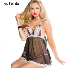 YUFEIDA Sleepshirts Sexy Hot Erotic Baby Dolls Elegant Porn American Lady Sex Ropa Interior Mujer Sleepwear Women's Nightgowns(China)