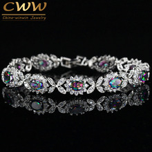 CWWZircons Oval Genuine Mystical Rainbow Fire CZ Crystal Bracelet Solid 925 Sterling Silver Vintage Gift For Women Jewelry CB174(China)