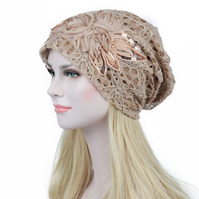 ladies' autumn/winter lace double flower moon warm hollowed-out lace bonnet femme Comfortable casual hats(China)