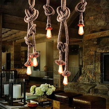 Retro Double Heads Rope Pendant Lights Loft Vintage Industrial LED Lamp Edison Bulb Fixtures for Restaurant Bedroom Dining Room