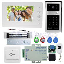 7'' wired color video door phone intercom system kit set with video monitor+IR camera with RFID card reader+180KG magnetic lock(China)