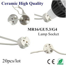 20X MR16 Holder Ceramic Lamp Base GU5.3 GU4 Socket LED CFL Halogen Light lamp holder with Wire Connector(China)