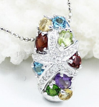 Gem pendant Free shipping Charms pendant Real and natural garnet,citrine,peridot,amethyst,diopside,blue topaz #15042920