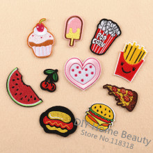 10 Pcs/Lot Hamburgers Food Clothes Embroidered Iron on Patches for Clothing DIY Apparel Accessories Garment Sewing Stickers @J