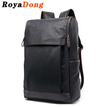RoyaDong 2017 Leather Backpack Men Stylish Vintage Flap School Bags For Teenagers Boys