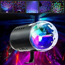 Auto Round Mini LED Magic Crystal Ball Rotating RGB Stage Light Night Lamp Holder Club Bar Disco Wedding Party Show Home Decor(China)
