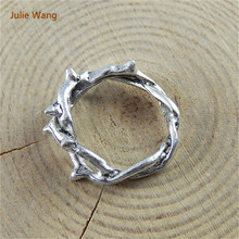 Julie Wang 20pcs Trendy Antique Silver Color Creative Ring Charms Fit Pendant Necklace Handcraft Connectors Accessory 51683(China)