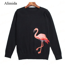 ALIMIDA 2017 New Runway Fashion Women Sweaters O-neck Knitted Pullovers Full Sleeve Blouse Shirts Female Tops Embroidery Animal(China)