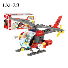 Helicopters Assemble Building Blocks Compatible With Fire Station Truck Learning School Education Toys Christmas Gift(China)