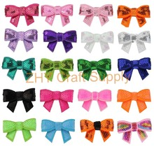 "29colors 145pcs/lot Hot-sale Cute 1.8"" Sequin Hair Bow Without Clips Girl DIY Hair Accesssories For Kids Headwear New Arrival"