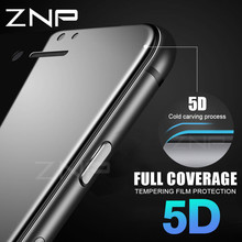 ZNP 5D Tempered Glass For iPhone X 7 8 glass 6s plus Screen Protector For iPhone 7 8 X Glass Full Cover Film Curved Edge(China)