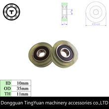 5PCS TPU 6000RS ball bearing cash counting machine sliding drawer roller wheels 10*35*11mm OD 35mm PU rubber roller forming ID10
