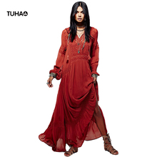 Buy TUHAO Long Indie Folk Dress Women Clothing V-neck Tassel Embroidery Retro Autumn Maxi Dresses Female TG5207 for $38.85 in AliExpress store