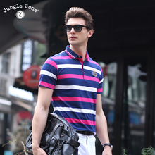 JJUNGLE ZONE Stripe hit color Men's Polo Shirt short-sleeved polo shirt Business Male polo shirt Hot PRODUCTS Polo shirts 8205(China)