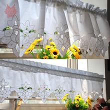 New fashion white 100% cotton floral embroidery lace half-curtain bay window curtain for coffee kitchen room SP2428