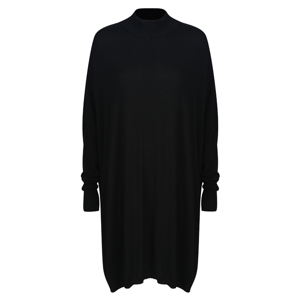 Black Turtleneck, Women's Knitted Sweater, Casual Long Sleeve Oversize Pullover 8
