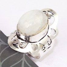 Rainbow Moonstone Ring Silver Overlay over Copper , Size: 7.75,  R0142