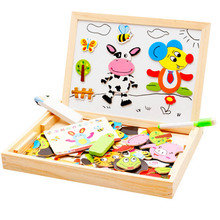 Multifunctional Wooden Animal Magnetic Puzzle Learning & Education Children Toys Kids Gifts Jigsaw Baby's Drawing Easel Board(China)