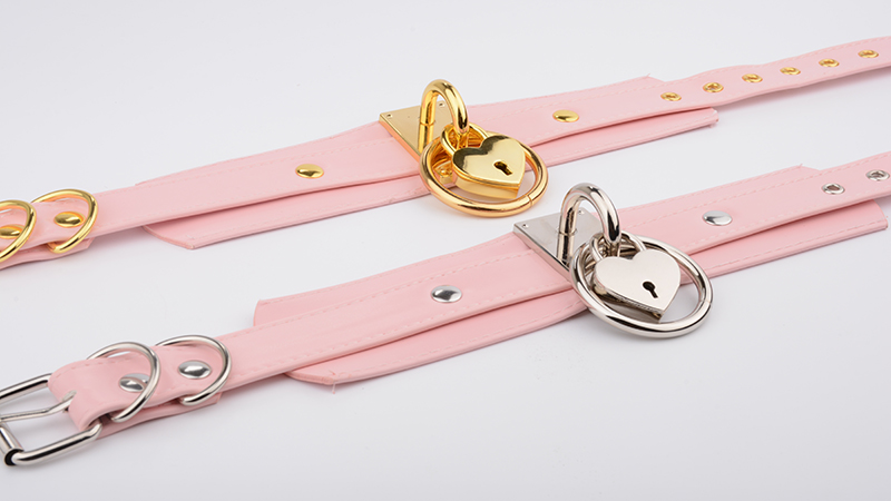 Chic Kawaii Handmade Pink Faux Oversized PU Leather Necklace For Women Cute Romantic Heart Collar O Round Collares With Lock Key 11