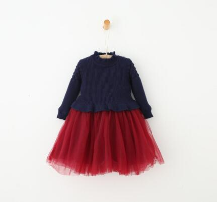 2016 winter and autumn girls children warm patchwork solid cute dress Girl childrens knitting fight yarn plus velvet dress<br><br>Aliexpress