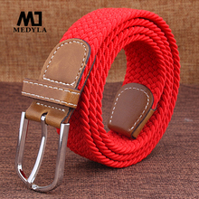 MEDYLA Top Fashion Striped Free Cinto Feminino Belts For Knitted Elastic Belt Male Canvas Pin Buckle Women's Lovers Strap(China)