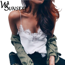 Women Lace Tank Top Female 2017 Sexy White Black Silk Cami Top Straped Evening Club Party Wear Plus Size Summer Satin Camis Tops(China)