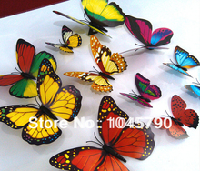 Free Shipping 60 X 3D Artificial Butterfly Decorations Magnets Craft Fridge Room Wall Decor