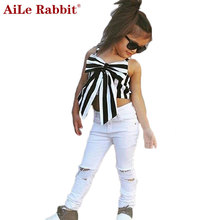 AiLe Rabbit 2017 Girls Set Tops and Pants 2 Pieces Stripes Ribbon Short Sling Fashion Hole Pants European Style Children's Suits
