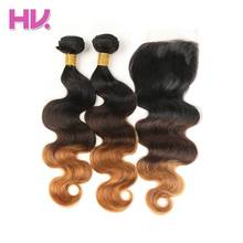 Hair Villa Pre-Colored Body Wave Peruvian Ombre Hair Lace Closure #1b/4/30 Non-Remy Human Hair Bundles With 4*4 Lace Closure(China)