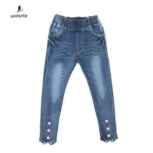 2017 New Design Kids Girls Cute Denim Jeans For Girls Flower Bottom Design Elastic Waist Jeans Pants Kids Trousers Age 3-12Yrs