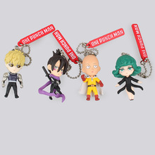 One Punch Man Saitama Genos tatsumaki Keychain 4pcs/set Cute 5cm Dolls Anime PVC Action Figure Kids Gift(China)