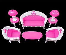 Free Shipping Girl Birthday Gift Plastic Vintage Sofa Couch Desk Lamp 6 Items/Set Accessories For princess Doll Monsters High