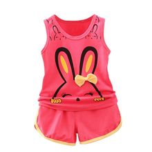 2017 Summer New 2pcs Kid Girl Vest Set Rabbit T-shirts+ Cotton Shorts Tracksuit For Girls Children Clothes Pants Suit