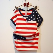 Age 2-7Y old 2016 summer girls clothing set children kids outfits USA flag 4th of july stripe Top+ skirt 2 piece suit girl set